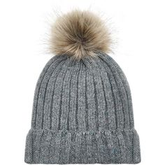 Accessorize Ribbed Flecked Pom Beanie Hat ($33) ❤ liked on Polyvore featuring accessories, hats, faux fur hat, pom pom beanie hat, faux fur beanie, faux fur pom pom beanie and fake fur hats