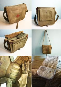 Vintage 1935 Red Cross Military Medical Bag Distressed Used. €59.00, via Etsy.