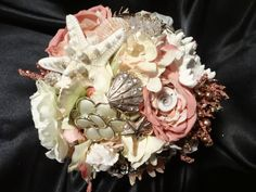 beach bouquet, shell bouquet, beach brooch bouquet, peach and cream bouquet, destination wedding