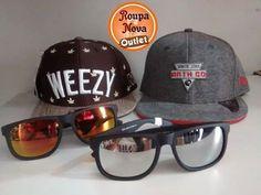 Novidades na Roupa Nova Outlet. Óculos e bonés com preços especiais.