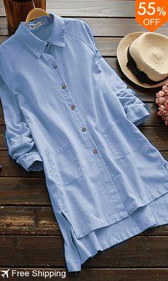 Gracila Pure Color Women Full Sleeve Lapel Pocket Irregular Shirt. #womensfashion #blouses #free