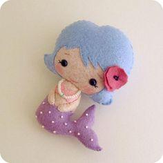 Little Mermaid pdf Pattern by Gingermelon on Etsy Felt Diy, Felt Crafts, Diy Crafts, Crafts For Kids, Arts And Crafts, Mermaid Dolls, Art Textile, Felt Fabric, Felt Dolls
