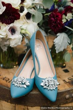 Wedding shoes ideas - something blue, heels, close toe, rhinestones, aqua {Claire Marika Photography}