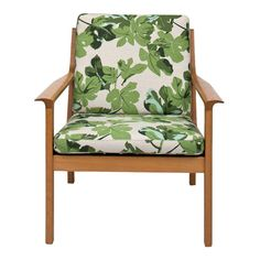 pretty wood chair upholstered with Peter Dunham Fig Leaf fabric