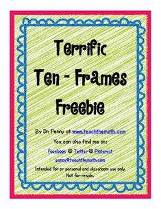 Ten-frames are a great tool for helping children relate number to quantity. These cute ten-frames are FREE for you to print and use! Preschool Math, Teaching Kindergarten, Math Classroom, Classroom Ideas, Ten Frame Activities, Math Activities, Math Games, Math Stations, Math Centers