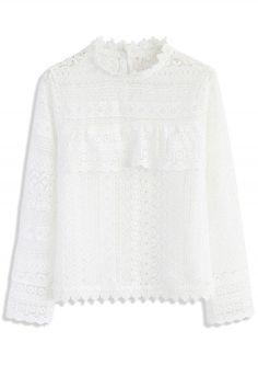 Crochet Diary Top in White