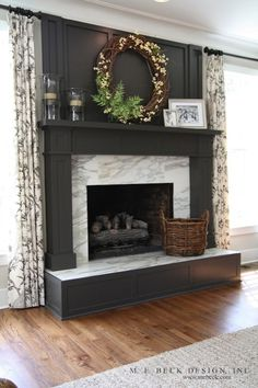 Gray Fireplace Surround with Calcutta Marble
