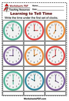 In this time practice worksheet, students will start by reading the hour and minute hands on different clocks. Clock Worksheets, Free Printable Alphabet Worksheets, Free Kindergarten Worksheets, Clock Printable, 1st Grade Worksheets, Social Studies Worksheets, Free Printables, Digraphs Worksheets, Learning Time Clock
