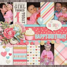 Cake Smash: Girl by Studio Flergs, Cake Smash: Girl {Cards} by Studio Flergs, Celebrate Template FREEBIE by Brook Magee Available from her Facebook Page