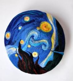 'Hello Vincent' beret by Neva and Roy. Needle-felted beret featuring 'The Starry Night' by Van Gogh. Lovely!