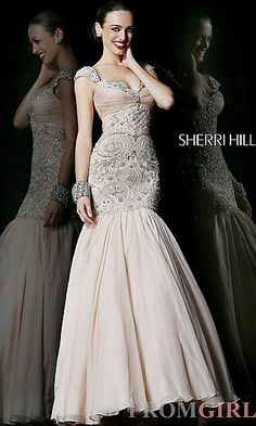 Long Cap Sleeve Mermaid Gown at PromGirl.com #prom #dress #fashion
