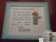 Quadrinho personalizado com a oração do anjo da guarda, bordado a máquina, com nome e desenho (anjinho) R$ 41,80
