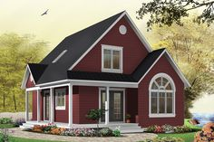 Discover the plan 3507 - Celeste from the Drummond House Plans house collection. Affordable country cottage house plan, 2 to 3 bedrooms or home office, mezzanine, covered balcony. Total living area of 1226 sqft. Small Cottage House Plans, Small Cottage Homes, Small House Plans, Tiny Homes, Dream Homes, Style At Home, Country Style House Plans, The Plan, How To Plan