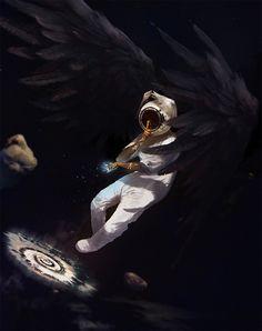 AstroAngel, Malaria/Michał Danielewicz on ArtStation at https://www.artstation.com/artwork/6oro0