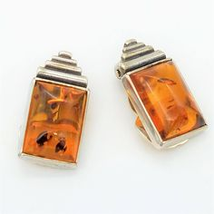 Vintage Mexican Amber & Sterling Silver Clip Earrings Made in Mexico by ThingsGrandmaKept1 on Etsy
