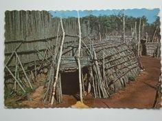 Vintage Postcard Long House by Hans Moritz at Huron Indian Village Midland Ontario Canada