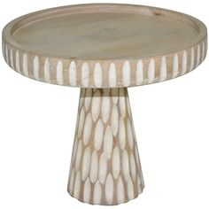 Contemporary Coastal White Wood Stand 8-in