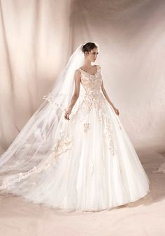 WHITE ONE 2017 Style SANSA. Floral inspired Tulle princess dress, appliqués in thread embroidery decorating the V-neckline. Lace Wedding Dress, Princess Wedding Dresses, Dream Wedding Dresses, Wedding Suits, Designer Wedding Dresses, Bridal Dresses, Wedding Gowns, Romantic Princess, 2017 Wedding