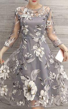 See-Through Floral Print Dress