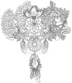 Animal coloring pages dream catchers am catcher for Adult coloring pages dream catchers