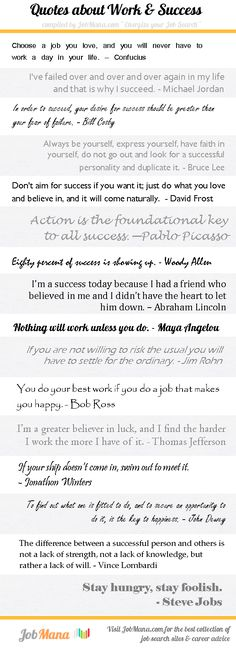 Infographic - short quotes about work and success. Motivation for your job search.