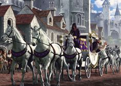 Medieval Fantasy carriage pulled by four horses going through the middle of a town ~ #longwindedme #procession #royalty