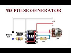 This simple 555 pulse generator is used in flashing LEDs and pulse generator for stepper motors. Dc Circuit, Circuit Diagram, Diy Electronics, Electronics Projects, Simple Circuit Projects, Arduino, Simple Electronic Circuits, Battery Charger Circuit, Rules For Kids