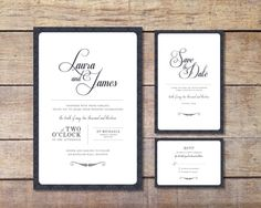 Elegant Wedding Stationary Set - options include: Invitation, RSVP Card & Save the Date Card (Digital Files)