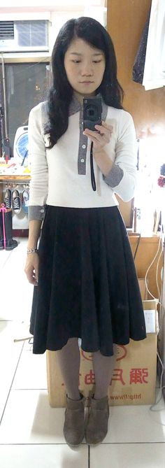 white shirt with grey plaid collar + black flare skirt + ankle boots.
