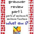 Printable Grammar Exercise for Reviewing or Assessing Grammar Skills. Student identify the sentence parts! Determine the parts of speech...$