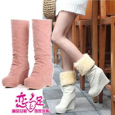 Aliexpress.com : Buy Hot selling 2013 winter warm boots fur boots medium leg wedges boots snow boots on  NO.119 Woman Store. $33.80