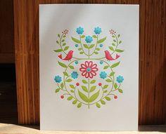 letterpress bird and vine print 11 X 14 dutch door press