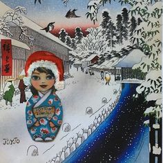 """Joyjo celebrating her White Christmas in a Hiroshige print """"Bamboo Lane Below Atago Hill"""" in this happy collage Utagawa Hiroshige – was a very famo Japanese Prints, White Christmas, Princess Zelda, Art Prints, Artwork, Fictional Characters, Inspiration, Design, Art Impressions"""
