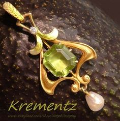 Antique Krementz 14k Gold Enamel Diamond Peridot Pearl Art Nouveau Lavaliere/Pendant c.1910 from Artphilosophy on RubyLane.com