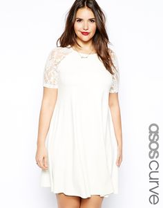 ASOS CURVE - Swing Dress With Lace Raglan Sleeve