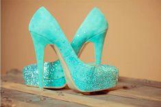 Tiffany blue wedding shoes swarovski bridal by AngelesqueStilettos