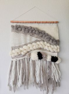 woven wall hanging//large weaving// neutral braids by OntheLoom