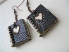 Book Earrings Paper Jewelry  Rustic Hearts by PaperMemoirs on Etsy