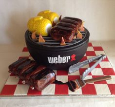 Labor Day BBQ Cake| Weber grill cake| Ribs and Corn Cakes