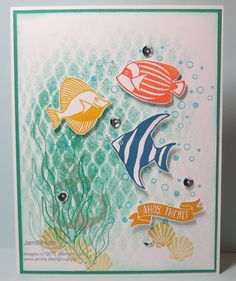 """Today I've created this adorable card with the """"BY THE SHORE"""" suite from the new catty!   My background was created with a regular household..."""