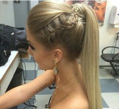 Straight ponytail with braid Nail Design, Nail Art, Nail Salon, Irvine, Newport Beach Prom Hair Updo, Homecoming Hairstyles, Formal Hairstyles, Girl Hairstyles, Braided Hairstyles, Wedding Hairstyles, Straight Hairstyles Prom, Prom Ponytail Hairstyles, Fast Hairstyles