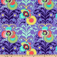 Amy Butler Love Paradise Garden Periwinkle fabric with melon, yellow and aqua highlights