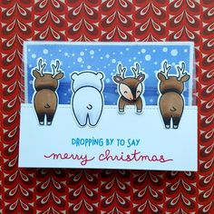 """A Christmas card that I made with the """"For You, Deer"""" stamps from """"Lawn Fawn""""."""