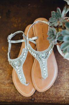 flache Brautschuhe, Hochzeitsschuhe, Sandalen mit Glitzer