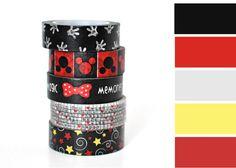 5 Roll Disney Washi Tape Set for Scrapbooking, Japanese Tape, Planner Tape, Erin Condren, Planner Stickers, Disneyland, Mickey Mouse sticker