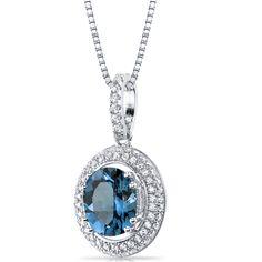 Women's Sterling Silver Pave Halo London Blue Topaz Pendant Necklace