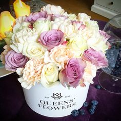 Made for a wedding. Luxury flowers in boxes made in Riga, Latvia.  QueensFlowers.lv