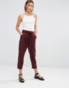 New Look Tie Waist Tapered Trousers