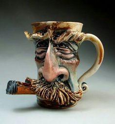 Mustache Cigar Face Mug jug folk art sculpture pottery coffee mug by Grafton