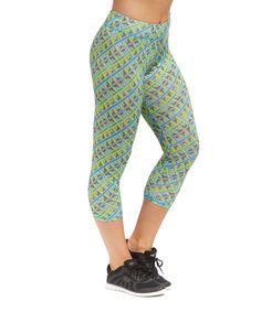 Another great find on #zulily! S2 Sportswear Green Geometric Performance Capri Leggings by S2 Sportswear #zulilyfinds